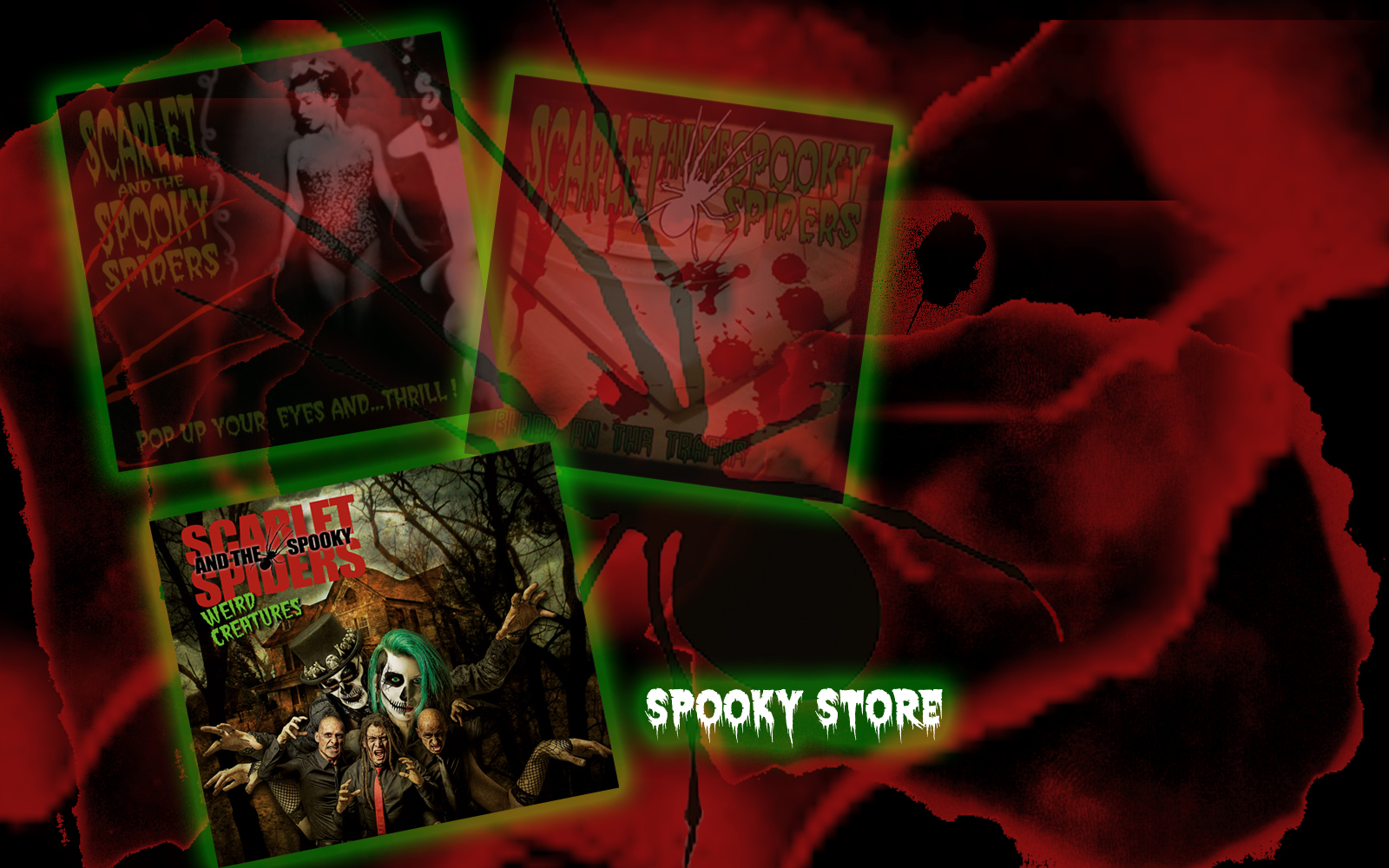 weird creatures, copy, album, spooky store, scarlet and the spooky spiders